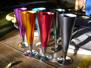 Groovy anodised aluminium champagne flutes