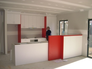 Partially completed kitchen - Memphis red