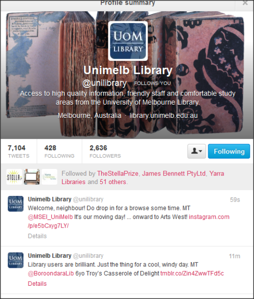 Melbourne University Twitter page